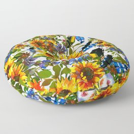 Abstract navy blue yellow watercolor sunflowers pansies pattern Floor Pillow
