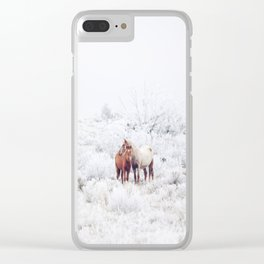 Two Winter Horses Clear iPhone Case