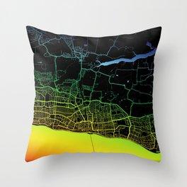 Southend-on-Sea, England, City, Map, Rainbow, Map, Art, Print Throw Pillow