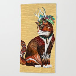 Wizard Cat Beach Towel