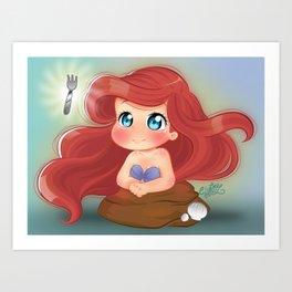 Ariel Little Mermaid Chibi Art Print