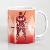 power ranger Mugs featuring Red Ranger by Isaiah K. Stephens