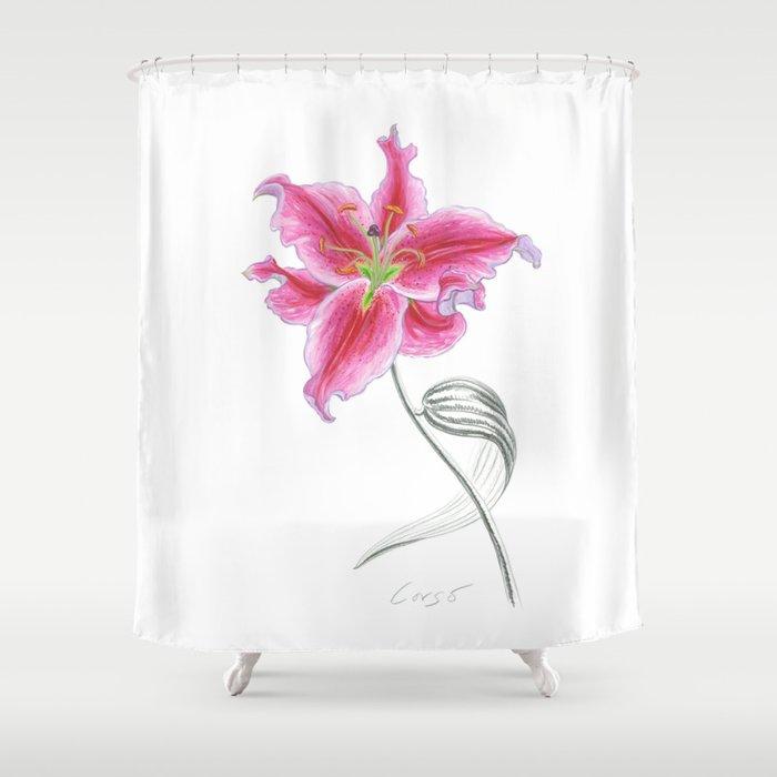 Lily 02 Botanical Flower Pink Stargazer Rubrum Shower Curtain