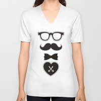 mustache V-neck T-shirts featuring Mustache by solomnikov