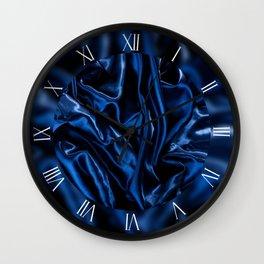 Dark blue crumpled satin cloth Wall Clock