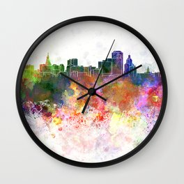 Hartford skyline in watercolor background Wall Clock