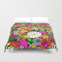60's Groovy Garden in Chocolate Brown Duvet Cover