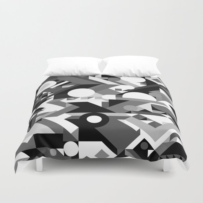 Geometry Shapes Pattern Print Black And White Color Scheme Duvet - Geometrical-shapes-on-bedding