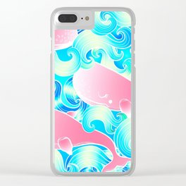 Pink Whales Pattern Clear iPhone Case