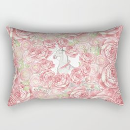 Vintage blush coral pink white watercolor horse floral Rectangular Pillow