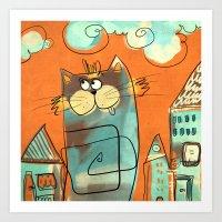 Retro Cat Art Print