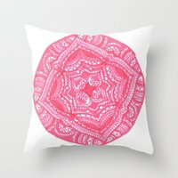 preppy Throw Pillows featuring Preppy Flower by Brenna Whitton