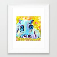 hippo Framed Art Prints featuring Hippo by Mandy Kopelke Art