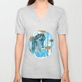Blue Horse In The Autumn Woods Unisex V-Neck
