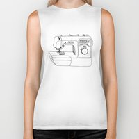 sewing Biker Tanks featuring Sewing Machine by The Wellington Boot