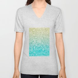 Blue brocade Unisex V-Neck