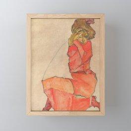 Egon Schiele - Kneeling Female in Orange-Red Dress Framed Mini Art Print