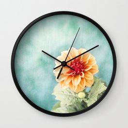 Aqua Orange Dahlia Flower Photography, Turquoise Teal Peach Nature Art Wall Clock