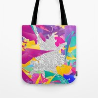 80s Tote Bags featuring 80s Abstract by Danny Ivan