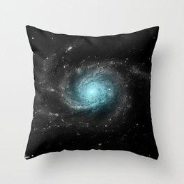 Aqua Blue Gray Pinwheel Galaxy Throw Pillow