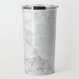 White Marble - Wood & Navy #599 Travel Mug