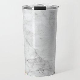 White Marble - Wood & Navy #599 Travel Mug
