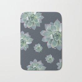 Succulent - navy background Bath Mat