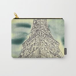 Blue Green Eiffel Tower Watercolor Sketch Carry-All Pouch