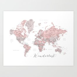 Wanderlust - Dusty pink and grey watercolor world map, detailed Art Print