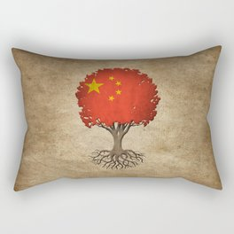 Vintage Tree of Life with Flag of China Rectangular Pillow
