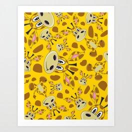 Cute Cartoon Giraffe Pattern Art Print