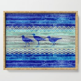 Rustic Navy Blue Coastal Decor Sandpipers Serving Tray