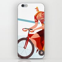 tour de france iPhone & iPod Skins featuring Bicycle Tour de France Tandem for Three by Gregory Baldwin