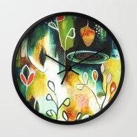 "flora bowley Wall Clocks featuring ""Deep Growth"" Original Painting by Flora Bowley by Flora Bowley"
