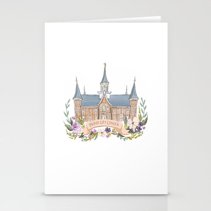 Provo City Center LDS watercolor Temple with flower wreath  Stationery Cards