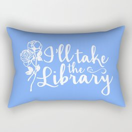 I'll Take the Library + Belle Blue Rectangular Pillow