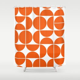 Mid Century Modern Geometric 04 Orange Shower Curtain