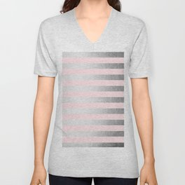 Stripes Moonlight Silver on Flamingo Pink Unisex V-Neck