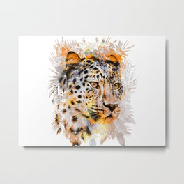 Colorful Grunge Art Cheetah Metal Print
