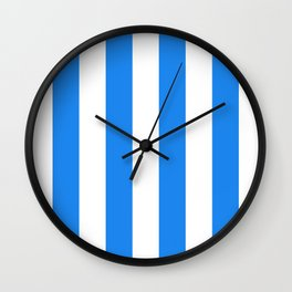 Vertical Stripes - White and Dodger Blue Wall Clock