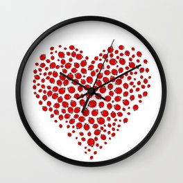Ladybug heart Wall Clock