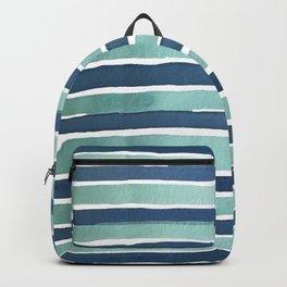 Aqua Teal Stripe Backpack