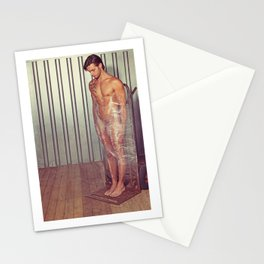 Sexy naked man wrapped with pallet wrap in a industrial container Stationery Cards