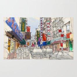 Chinatown original handmade drawing colorful sketch Rug