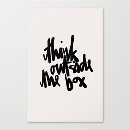 Think Outside The Box Black-White Typography Canvas Print