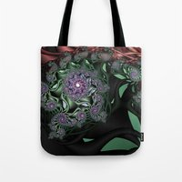 novelty Tote Bags featuring Lilac Fractal Garden by Moody Muse