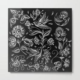 sparrows and swirls black Metal Print