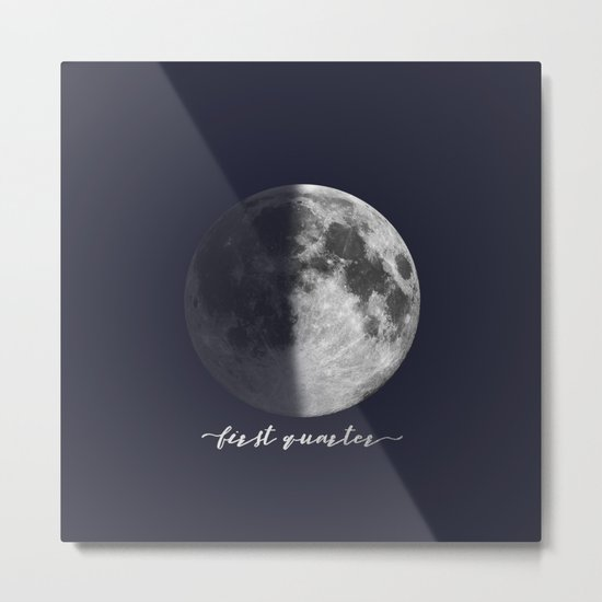 First Quarter Moon on Navy English Metal Print