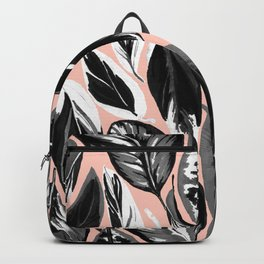 Calathea black & grey leaves with pale background Backpack