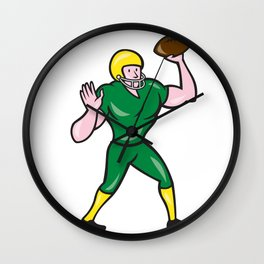 American Football QB Throwing Retro Wall Clock